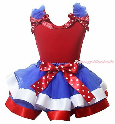 Plain Ruffle Bow 4th July Red Cotton Top BWR Satin Trim Skirt Girls Outfit NB-8Y