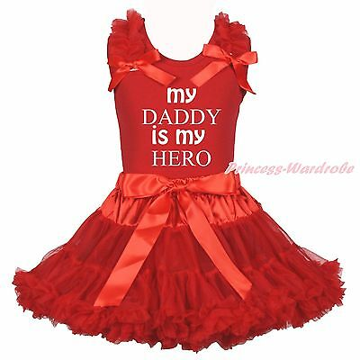 Valentine My Daddy Is My Hero Red Cotton Top Shirt Girls Skirt Outfit Set 1-8Y