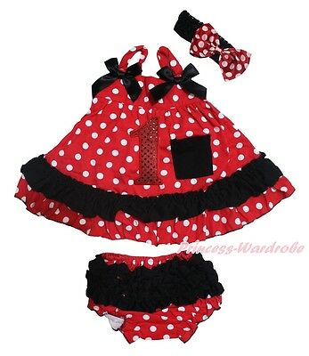Birthday 1ST Baby Girls Red Black Minnie Dots Swing Top Bloomer Outfit Set NB-2Y