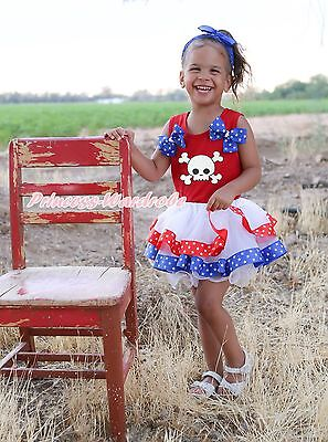 Halloween White Skull Red Cotton Top RWB Star Satin Trim Skirt Girl Outfit NB-8Y