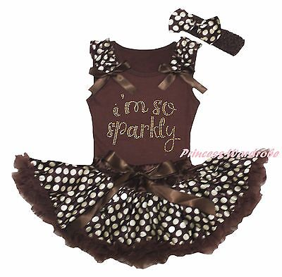 Thanksgiving I M So Sparkly Brown Top Girl Beige Dot Baby Skirt Outfit Set 3-12M