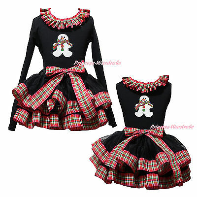 Xmas Ginger Snowman Top Red Green Check Black Satin Trim Skirt Girl Outfit NB-8Y