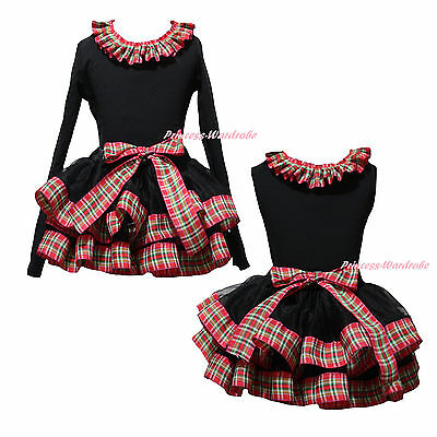 Plain Xmas Cotton Top Red Green Check Black Satin Trim Skirt Girls Outfit NB-8Y