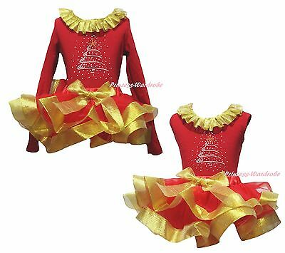 Rhinestone Xmas Tree Cotton Top Gold Red Satin Trim Skirt Girl Outfit Set NB-8Y