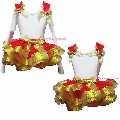 Plain Xmas New Year White Cotton Top Gold Red Satin Trim Skirt Girl Outfit NB-8Y