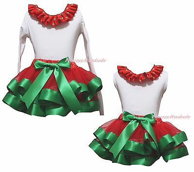 Plain Xmas White Cotton Top Kelly Green Red Satin Trim Skirt Girls Outfit NB-8Y