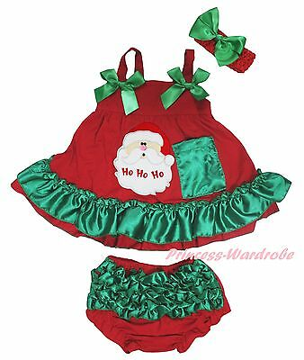 Xmas Santa Claus Newborn Baby Girl Red Green Swing Top Bloomer Outfit Set NB-2Y