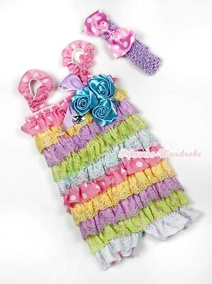 Baby Rainbow Pink White Dot Blue Satin Rose Rosettes Bow Crystal Romper NB-3Year