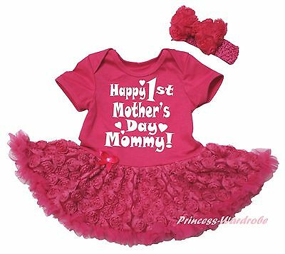 Happy 1ST Mother Day Mommy Hot Pink Bodysuit Romantic Rose Girl Baby Dress 0-18M