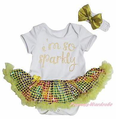 I M SO Sparkly White Bodysuit Yellow Rainbow Bling Sequins Girl Baby Dress 0-18M