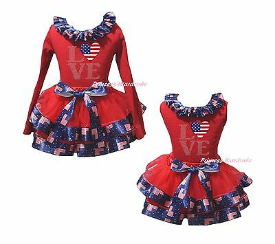 4th July US Flag Heart Love Red Top USA Flag Satin Trim Skirt Girls Outfit NB-8Y