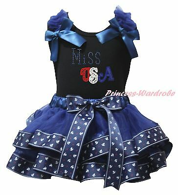4th July Miss USA Black Top Navy Blue Sailor Satin Trim Skirt Girls Outfit NB-8Y