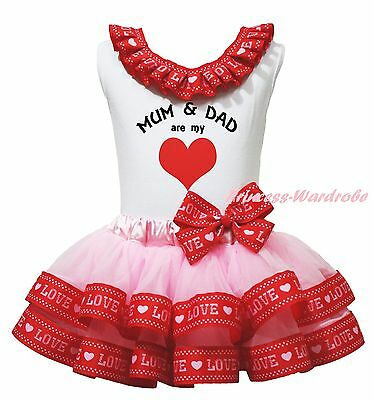 Mum & Dad are my Heart White Top Pink Red Love Satin Trim Skirt Girls Set NB-8Y