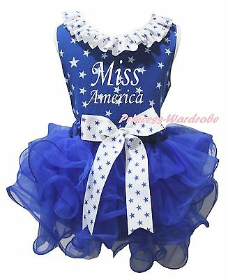Miss America 4th July Blue Star Cotton Top Petal Skirt Girls Outfit Set NB-8Year