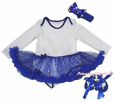 Plain 4th July White L/S Bodysuit Blue Bling Star Girls Baby Dress Shoes NB-18M