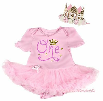 Birthday Crown One Light Pink Cotton Bodysuit Girl Baby Dress Outfit Set NB-18M