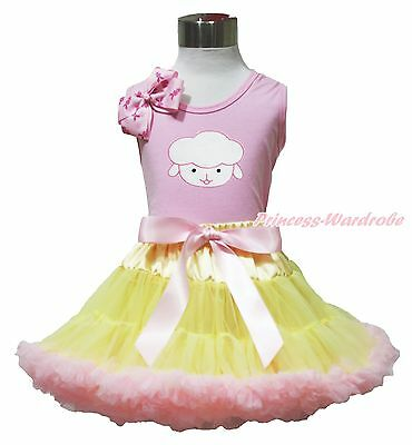 Easter Sheep Pink Top Shirt Yellow Pink Baby Girl Pettiskirt Outfit 1-8Year