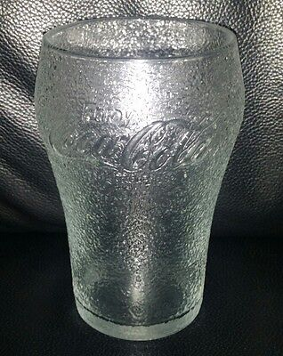 Rare Collectable Enjoy Coca Cola Frosted Dimpled Style Coke Glass Good Condition