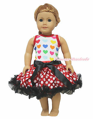 "Valentine 's Day White Rainbow Hearts Top Minnie Skirt 18"" American Doll Outfit"