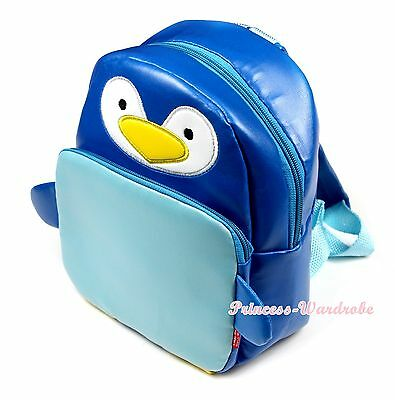 Royal Light Blue Penguins Kid School Satchel Backpack Boy Girl Unisex Travel Bag