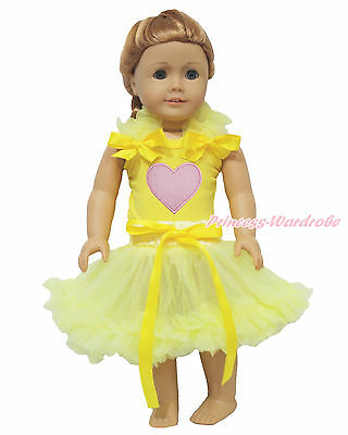 "Valentine'​s Day Pink Heart Yellow Top Shirt Pettiskirt 18"" American Doll Outfit"