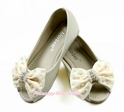 Beige Rhinestone Pearl Bow Open Toe Kids Girl Causal Party School Shoes D02