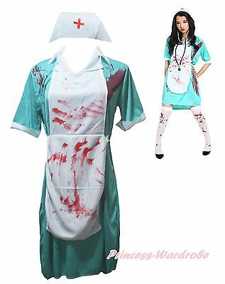 Halloween Costume Aqua Blue Bloody Surgeon Nurse Party Dress Up with Socks Women