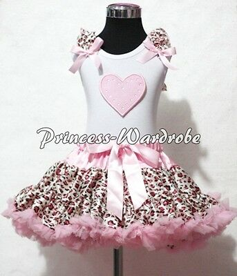 White Pettitop Top in Pink Ruffles Heart with Light Pink Leopard Pettiskirt 1-8Y