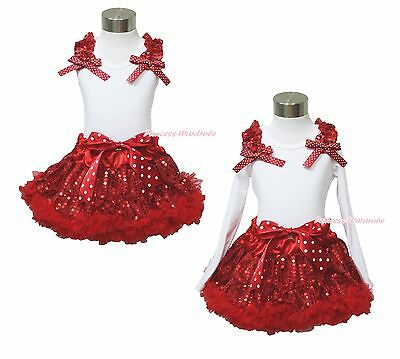 XMAS Plain Ruffle Bow White Top Red Sparkle Sequins Pettiskirt Girl Outfit 1-8Y