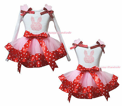 Easter Rose Bunny Rabbit White Top Pink Minnie Satin Trim Girls Skirt Set NB-8Y