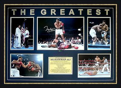 """MUHAMMAD ALI """"THE GREATEST"""" Signed 5 Photo Tribute Collage Framed"""