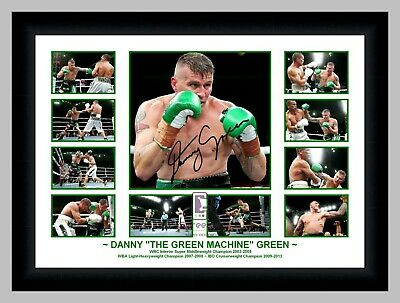 """Danny """"the Green Machine"""" Green Boxing Photo Collage Signed Print Or Framed"""
