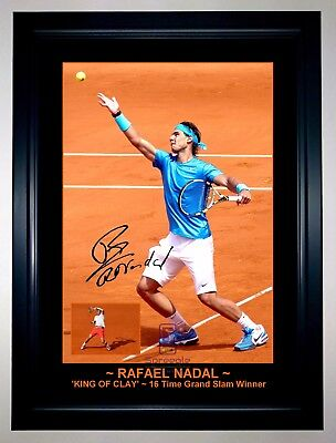 RAFAEL NADAL 'KING OF CLAY' Top 5 Tennis Player A3 Signed Framed Action Photo