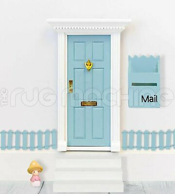 MAGICAL FAIRY DOOR SET - PALE BLUE Wooden Mini Doll Size|Aussie Company **NEW**