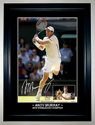 ANDY MURRAY 2016 WIMBLEDON CHAMPION A3 Tennis Signed Framed Action Photo