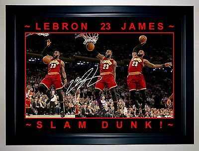 Lebron James 2017 'slam Dunk' Cavaliers Action Photo Signed Print Or Framed
