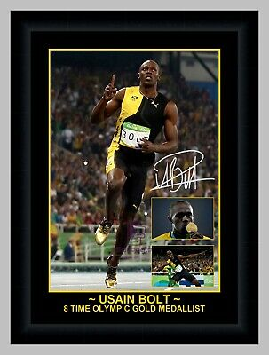 Usain Bolt 8 Time Olympic Gold Medallist Photo Collage Signed Print Or Framed
