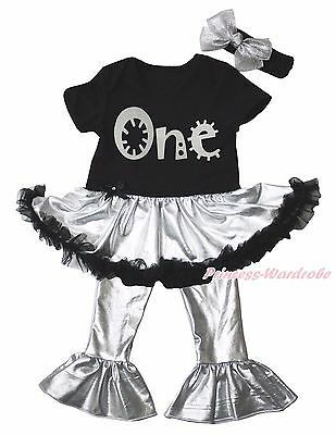 Birthday One Black Bodysuit Silver Gray Girls Baby Dress Trousers Outfit NB-18M