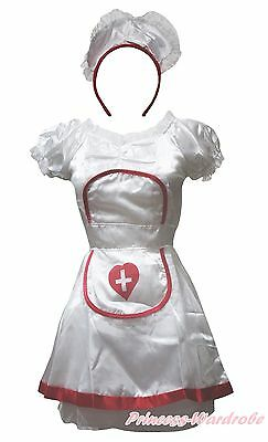 Halloween Costume White Pretty Nurse with Head Party Dress Up for Women Adult