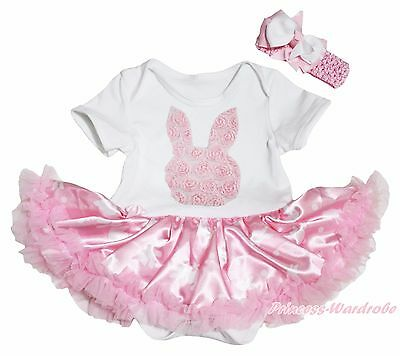 Easter Rose Bunny White Bodysuit Pink Rabbit Dots Girls Baby Dress Outfit NB-18M
