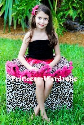 Baby Hot Pink Leopard Pettiskirt and Lace Tube Top 1-8Y