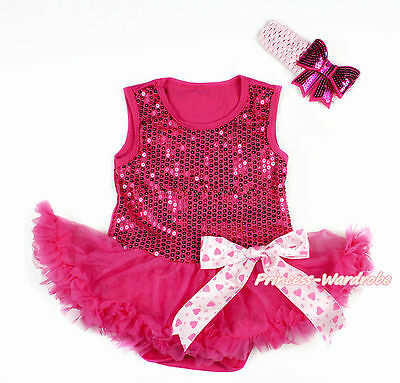 Valentine Hot Pink Sequins Girl Bodysuit Hot Pink Baby Dress Hearts Bow NB-18M