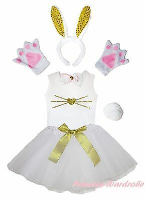 Easter Yellow Bling Bunny Face Kids 6P Headband Paw Tail Bow Shirt Skirt Costume