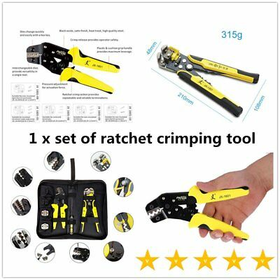 Functional JX-D4301 Ratchet Crimping Tool Wire Strippers Terminals Pliers IB