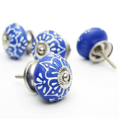 Casa Decor Set of 12 Handpainted Blue Ceramic Cabinet Drawer Knobs Pulls