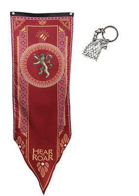 Game of Thrones Lannister Tournament Banner flag with Stark keychain
