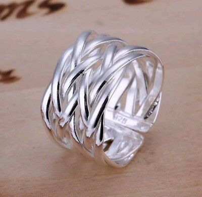 925 Sterling Silver Ring Band Adjustable Open Size Hot Fashion Jewelry Stunning