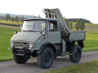 daimler benz unimog 406 oldtimer von 1964 mit atlas kran. Black Bedroom Furniture Sets. Home Design Ideas