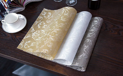 4PCS/SET Dining Table Place Mats PVC Insulation Placemats Pad Coasters UK Stock