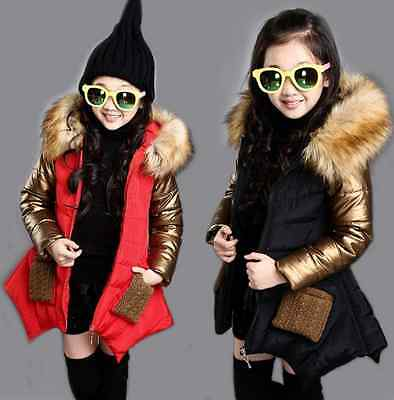 Girls Kids Padded School Quilted Winter Coat Jacket Puffer Fur Hooded Long Parka
